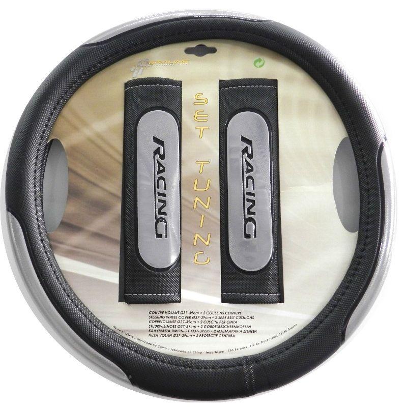 kit couvre volant et coussins prot ge ceinture auto tuning racing gris. Black Bedroom Furniture Sets. Home Design Ideas