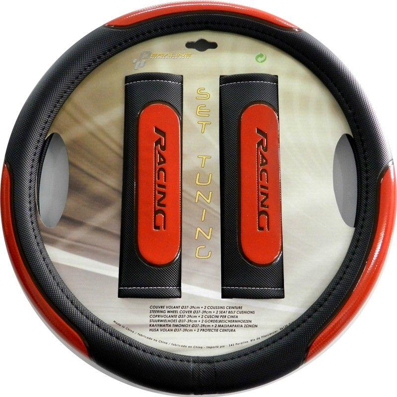 kit couvre volant et coussins prot ge ceinture auto tuning racing rouge. Black Bedroom Furniture Sets. Home Design Ideas