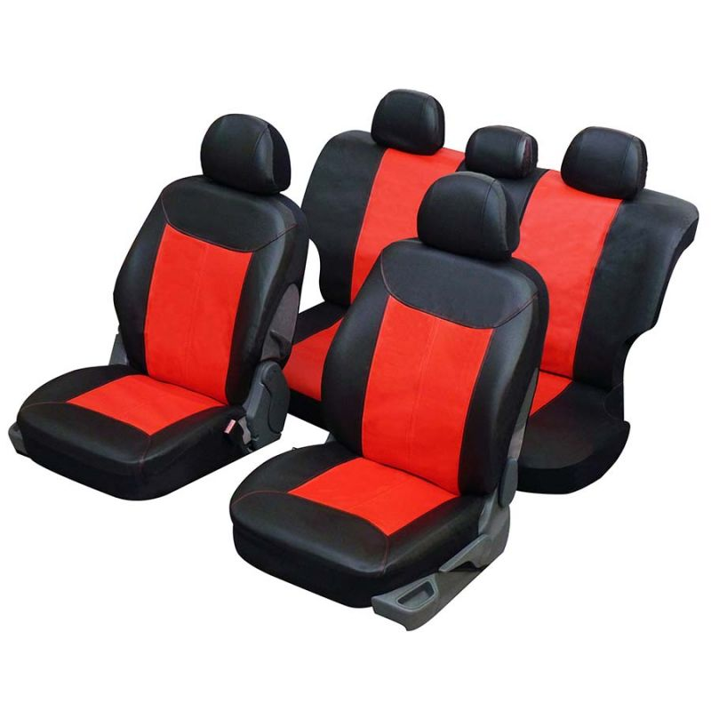 housses auto universelles sp ciales 4x4 et suv simili cuir skai rouge et noir. Black Bedroom Furniture Sets. Home Design Ideas