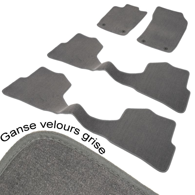 tapis auto sur mesure dacia lodgy 7 places aspect velours gris pr sident avant 2 rang arri res. Black Bedroom Furniture Sets. Home Design Ideas