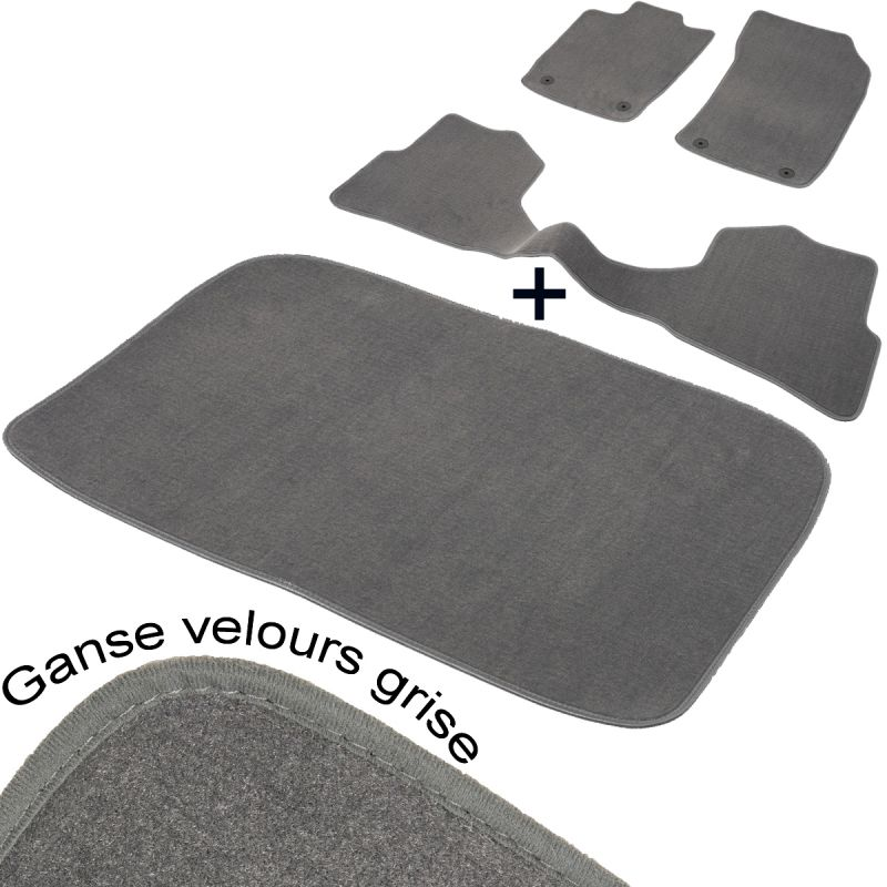 tapis auto nissan qashqai j10 aspect velours gris complet coffre. Black Bedroom Furniture Sets. Home Design Ideas