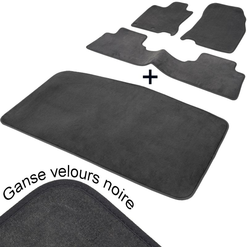 tapis auto nissan murano z50 aspect velours noir complet coffre. Black Bedroom Furniture Sets. Home Design Ideas