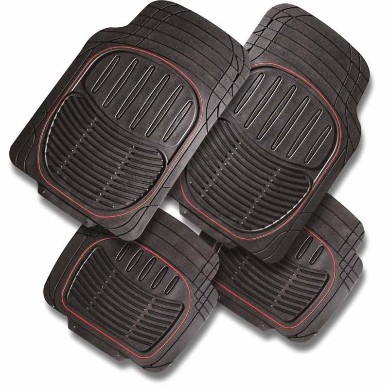 tapis auto en caoutchouc r sistant et bordure rouge pilot. Black Bedroom Furniture Sets. Home Design Ideas