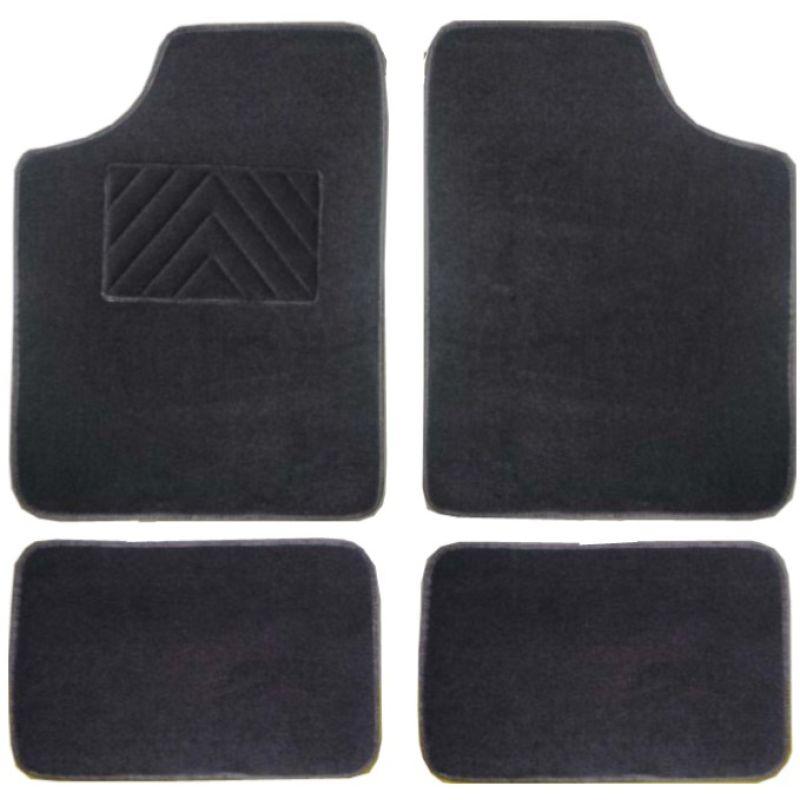 jeu de 4 tapis auto pas chers avec talonnette de renfort et moquette noir vista. Black Bedroom Furniture Sets. Home Design Ideas