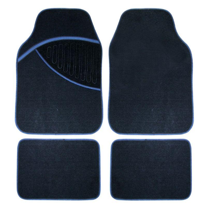 tapis auto universel en moquette noire et contour bleu star. Black Bedroom Furniture Sets. Home Design Ideas
