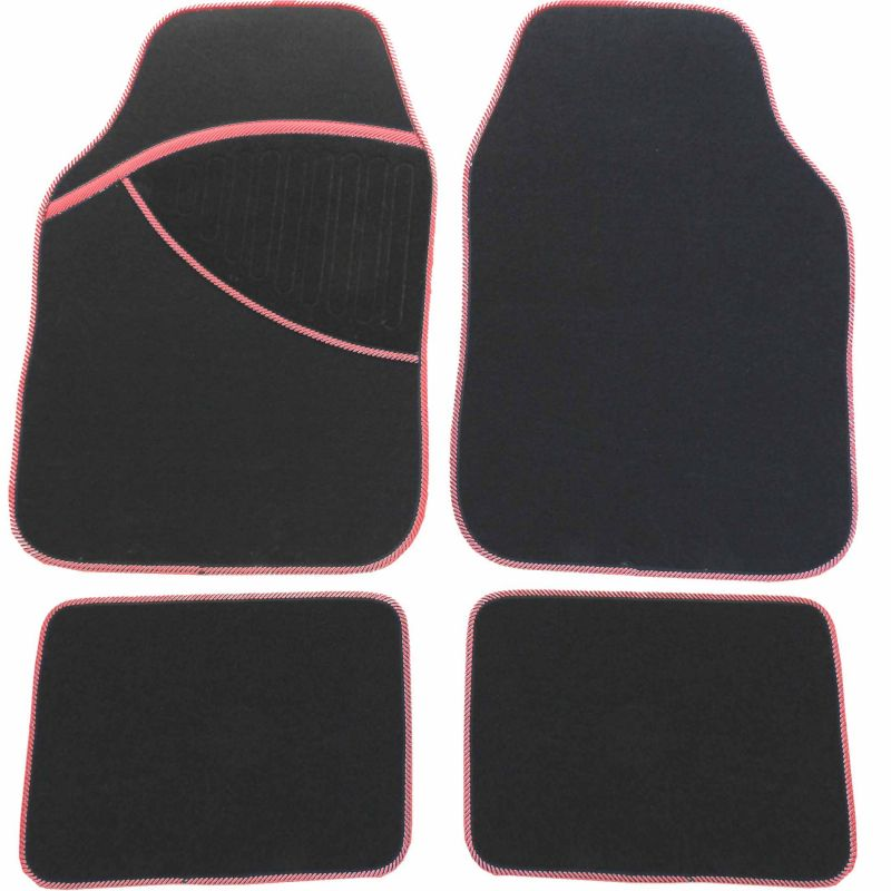 tapis voiture pas cher moquette noire et contour rouge star. Black Bedroom Furniture Sets. Home Design Ideas